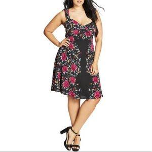 NWT City Chic Flutter Sleeve Sweetheart Neck Dress